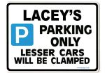 LACEY'S Personalised Parking Sign Gift | Unique Car Present for Her |  Size Large - Metal faced
